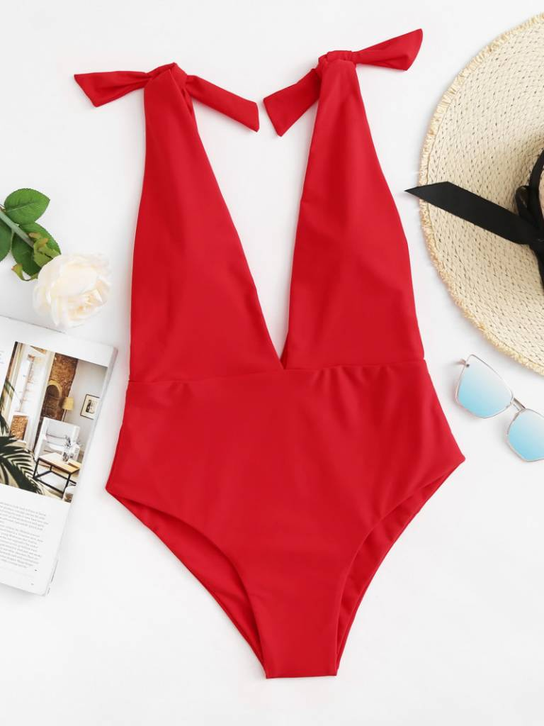 BOW BOW RED SWIMSUIT