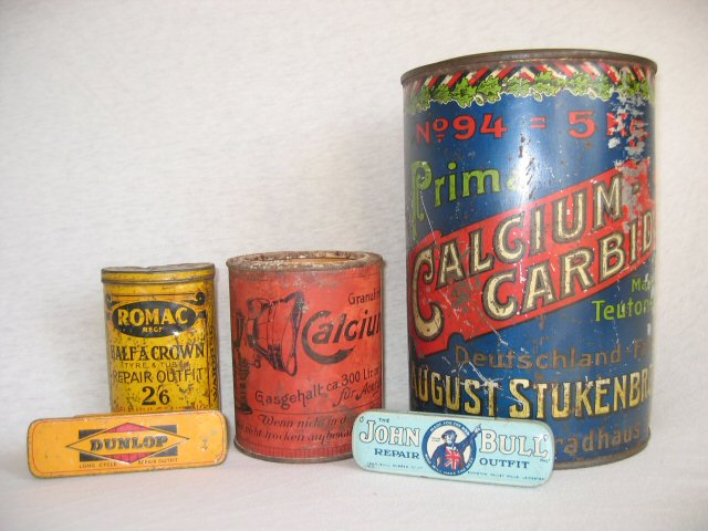 Oude carbid verpakking, carbid geschiedenis, carbidlamp