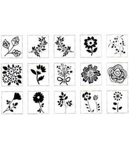 Rico Design 15 stempels + inkt - bloemen