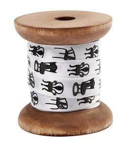 StudioZomooi Satijn lint op klos - wit stoel