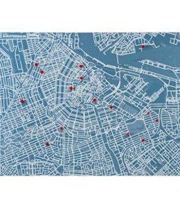 Palomar Pinmap Amsterdam - Blauw - 80x100 cm