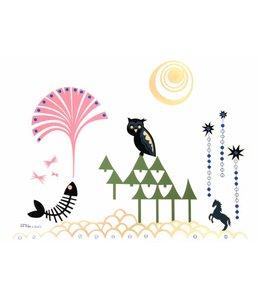 Rie Elise Larsen Poster - Uil in het bos - 42x29,5cm