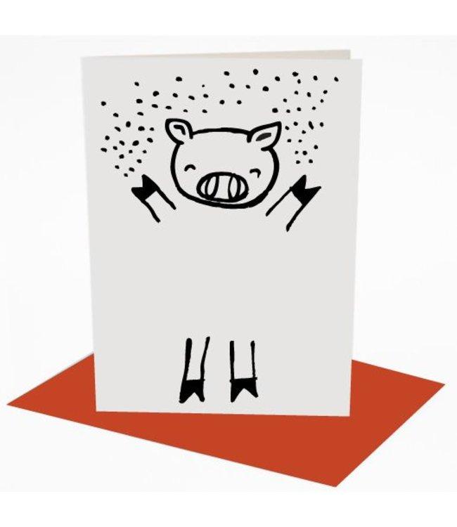 Wee Gallery Kaart - Dress up Pig