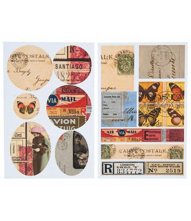 Rico Design Kraft sticker - retro mail