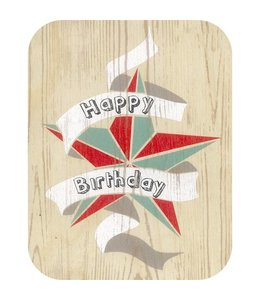 Forever Handmade Cards Houten kaart - Happy Birthday ster