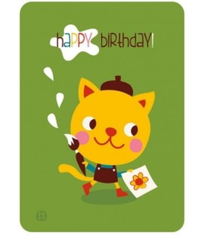 Bora Postkaart - Happy Birthday - kat