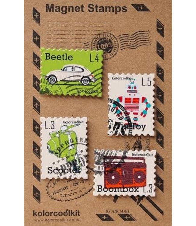 Kolorcoolkit Magneten set - Postzegel retro
