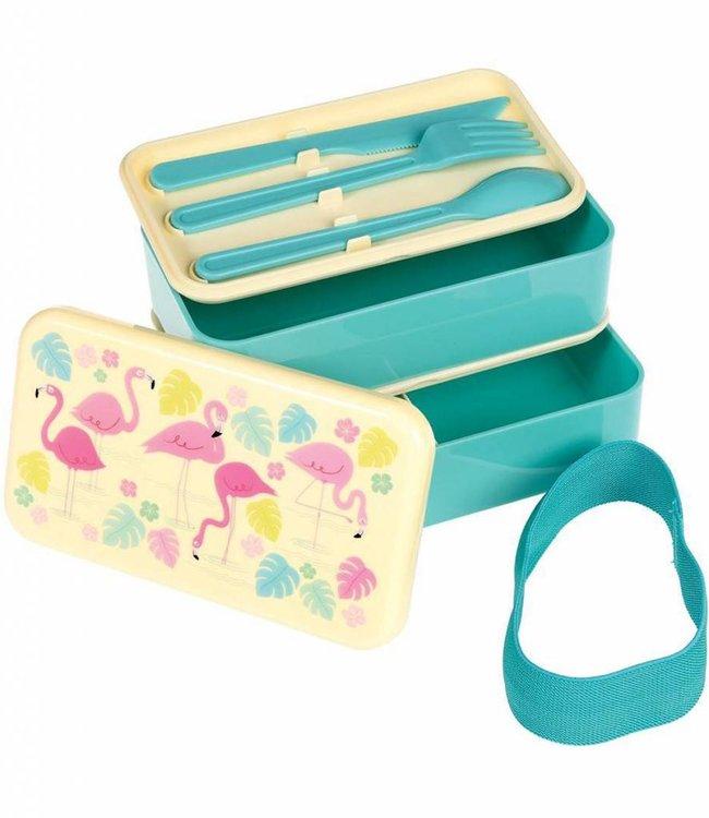 Dotcomgiftshop Bento lunch box groot - Flamingo
