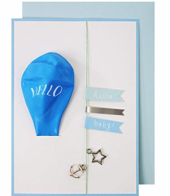 Meri Meri Kaart met ballon en slinger - baby blauw