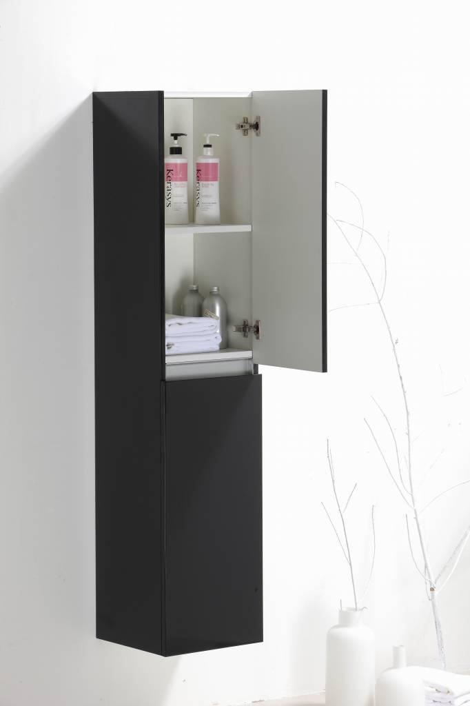 Line hoge kast 35x35x160 cm wit en hoogglans antracietHoge kolomkast