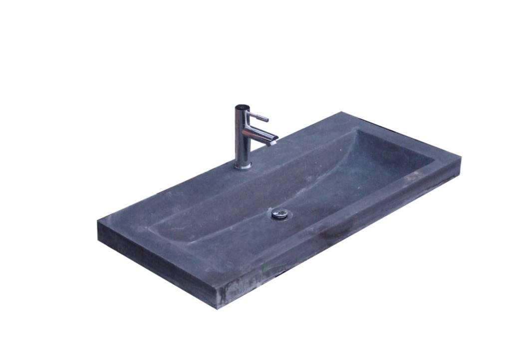 Wastafel compact stone 80x38x5 cm megadump tiel megadump tiel - Wastafel rechthoekig badkamer ...