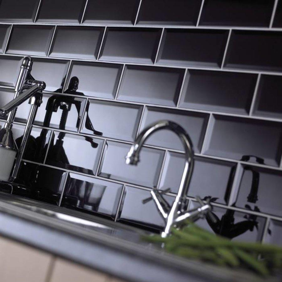 wandtegels keuken creme : Wandtegels Metro Hoogglans Zwart 10×20 P M Megadump Tiel