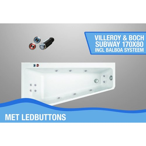 Villeroy en Boch Subway Whirlpool Links 170X80X45 Cm Met Balboa Whirlpool Bad Systeem