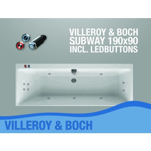 Villeroy en Boch Subway Whirlpool 190X90X50 Cm Met Balboa Whirlpool Bad Systeem