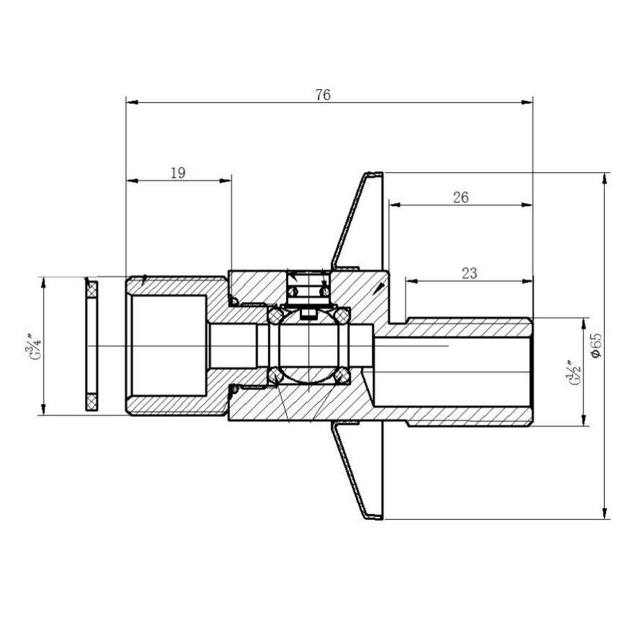 Set afsluitbare s-kopp. 1/2x3/4 + rozet chroom