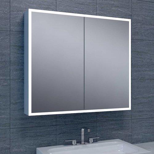 Spiegelkast Quatro met Rand Verlichting 80x70x13 Aluminium