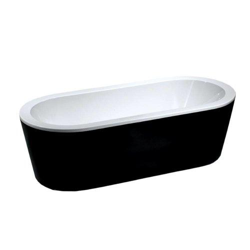 Aqua Splash Ligbad Nero Vrijstaand Acryl 178x80 Zwart Wit
