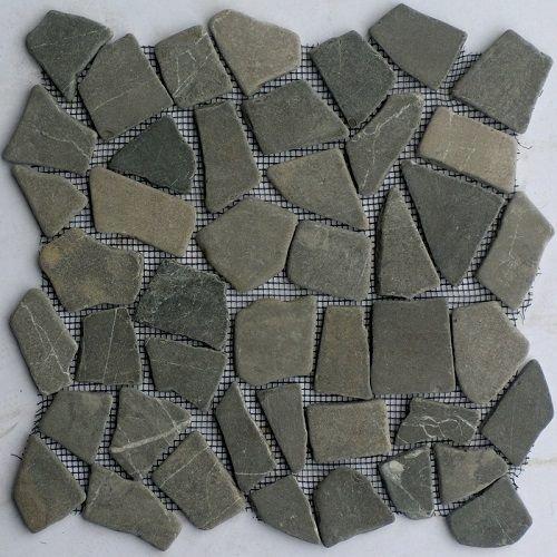 Grey marmer scherven getrommeld mixed maten, Getrommeld / verouderd P/Matje