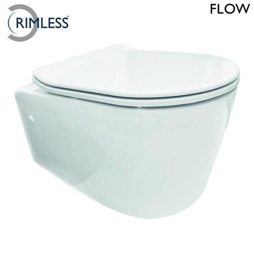 Aqua Splash Wandcloset Rimless Flow Met Flatline Zitting Wit
