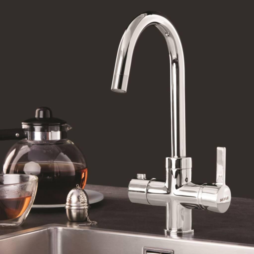 Kokend Water Kraan.Dekker Kokend Waterkraan Selsiuz Rond Chroom Inclusief Boiler