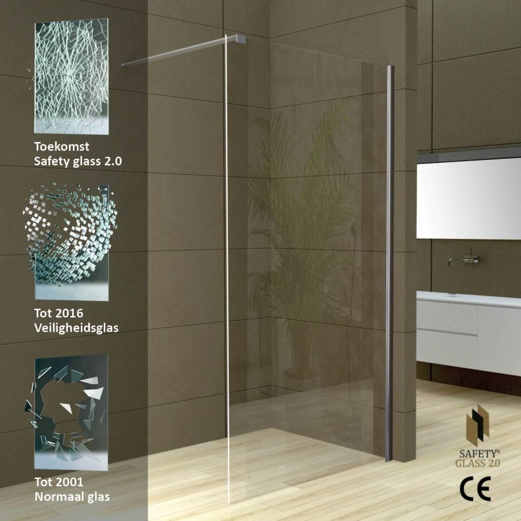 GroBartig Schon Excellent Safety Glass Muurprofiel Mm Nano Glas In Maten With Douche  Muur Maken