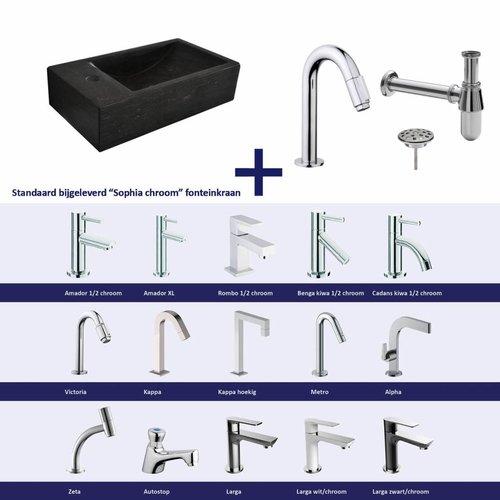 Aqua Splash Fonteinset Recto Natuursteen Links 40X22X10 Cm Chroom (Keuze Uit 20 Kranen)