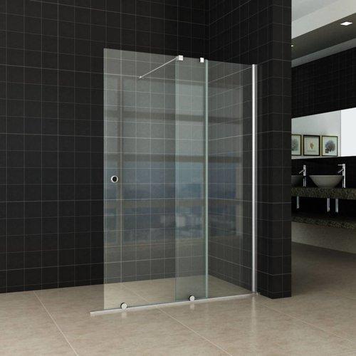 Aqua Splash Verleng-Inloopdouche 100x200 cm op Rail 10mm NANO Glas