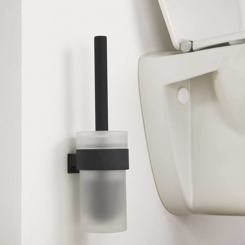 Toiletborstelhouder Bold Muur Glas/Mat Zwart 33.9 Cm
