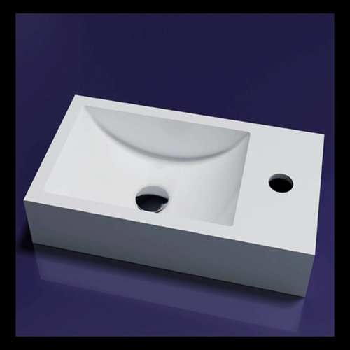 Fontein Recto Solid Surface 40X20X10 Cm Mat Wit (Kraangat Links Of Rechts)