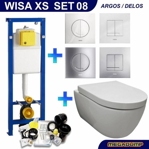 Wisa XS Toiletset 08 Aqua Royal EasyFlush Rimfree 48cm compact met Delta drukplaat