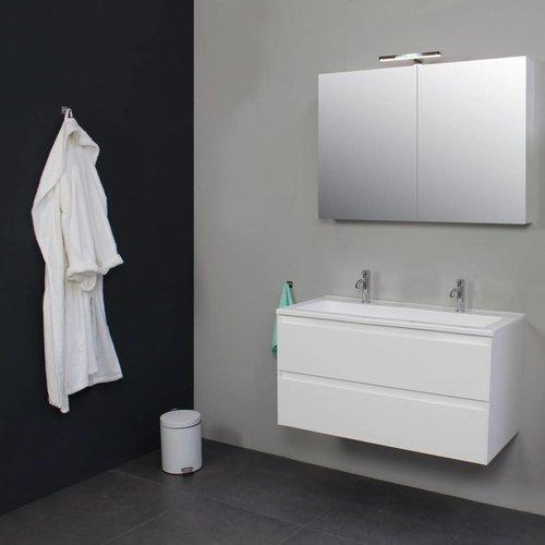 Badkamermeubelset Met Acryl Wastafel 100 Cm 2 Kraangaten Incl. Spiegelkast Wit