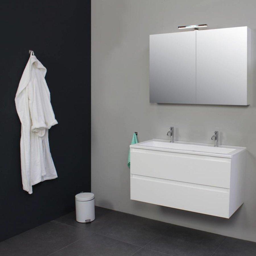 Badkamermeubelset met Acryl Wastafel 100 cm 2 Kraangaten incl Spiegelkast Wit