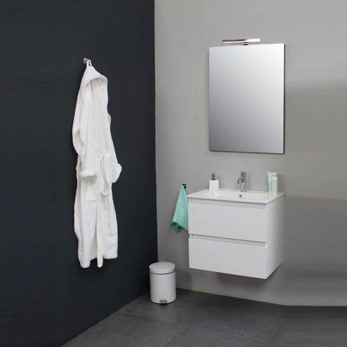 Badkamermeubelset Met Porseleinen Wastafel 60 Cm 1 Kraangat Incl. Spiegel Wit
