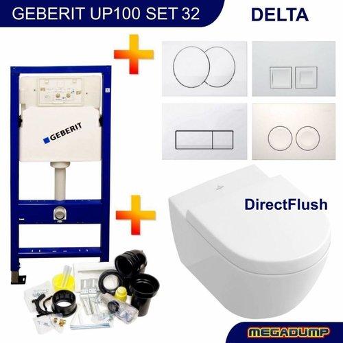 Up100 Toiletset 32 Villeroy & Boch Subway 2.0 Direct flush Met Bril En Drukplaat