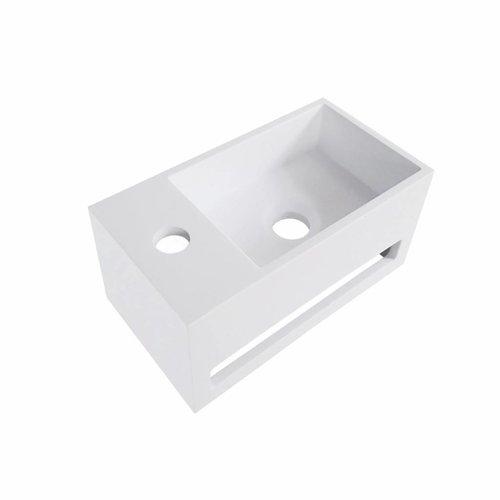 Aqua Splash Fontein Met Handdoekhouder Solid Surface 35.6X20.3X15.9 Cm (Kraangat Links Of Rechts)