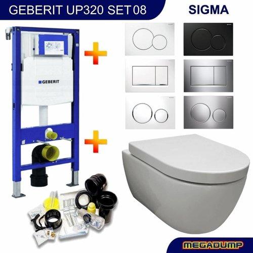 Geberit Up320 Toiletset 08 Aqua Royal Easyflush Rimfree 48Cm Compact Met Sigma Drukplaat