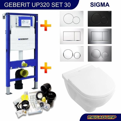 Up320 Toiletset 30 Villeroy & Boch O.Novo Direct flush Met Bril En Drukplaat