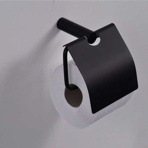 Toiletrol Houder Met Klep Zwart