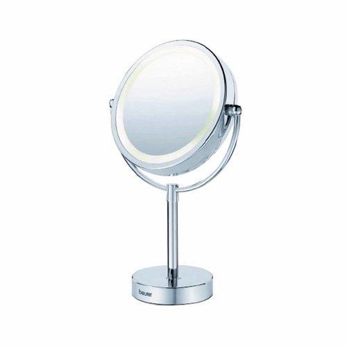 Scheerspiegel Staand Vergrotend Met LED Verlichting 230V Ø15cm Chroom
