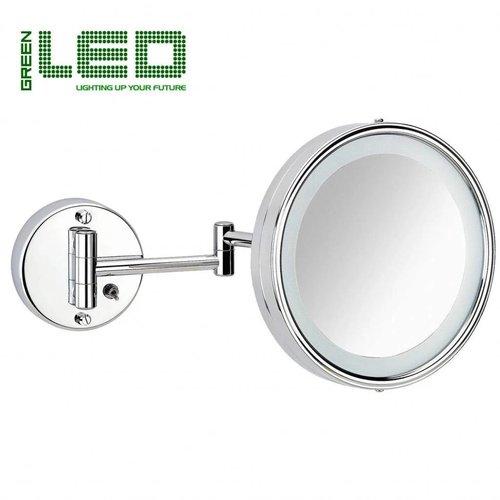 Scheerspiegel Basic Schakelaar Met LED verlichting Ø19cm Zwenkbaar Wand Chroom
