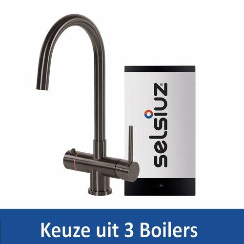 Kokendwaterkraan Steel Rond Gun Metal Inclusief Boiler (Keuze uit 3 boilers)