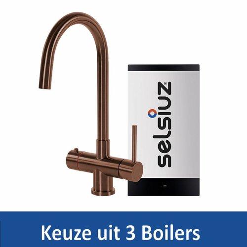 Kokendwaterkraan Steel Rond Copper Inclusief Boiler (Keuze uit 3 boilers)