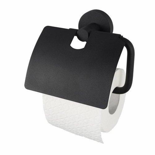 Toiletrolhouder Kosmos met Klep Mat Zwart