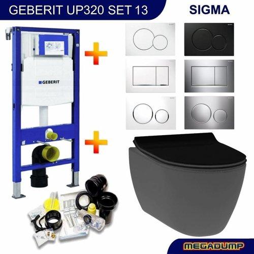 UP320 Toiletset 13 Idevit Alfa Matzwart Rimfree Met Bril En Drukplaat