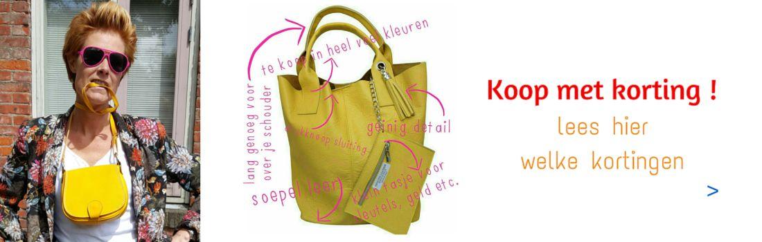 Kortingsactie; 3 halen 2 betalen op leren shoppers, kleine schoudertassen en de bag in bags.