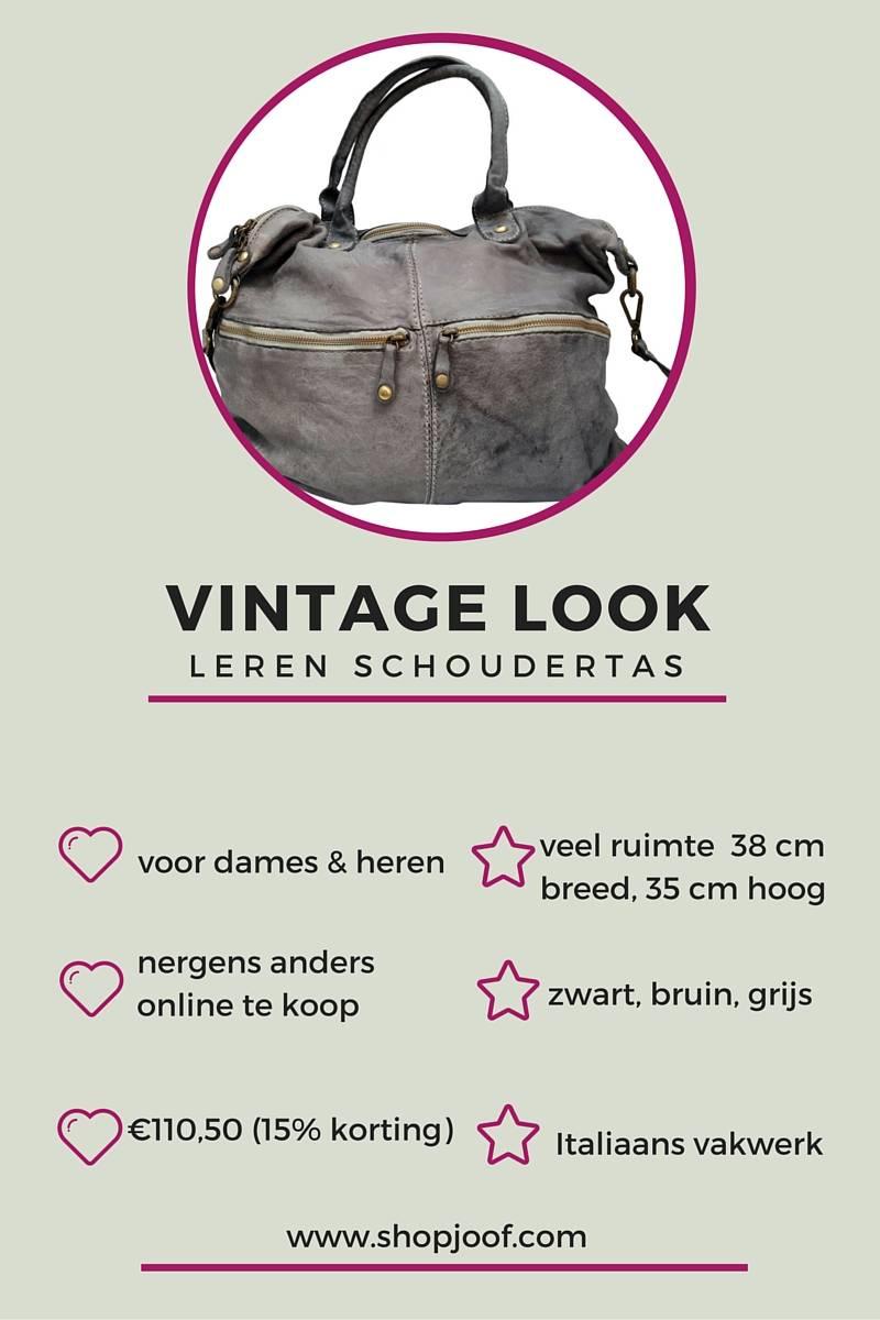 Stoere leren schoudertas met vintage look, goedkoper alternatief.