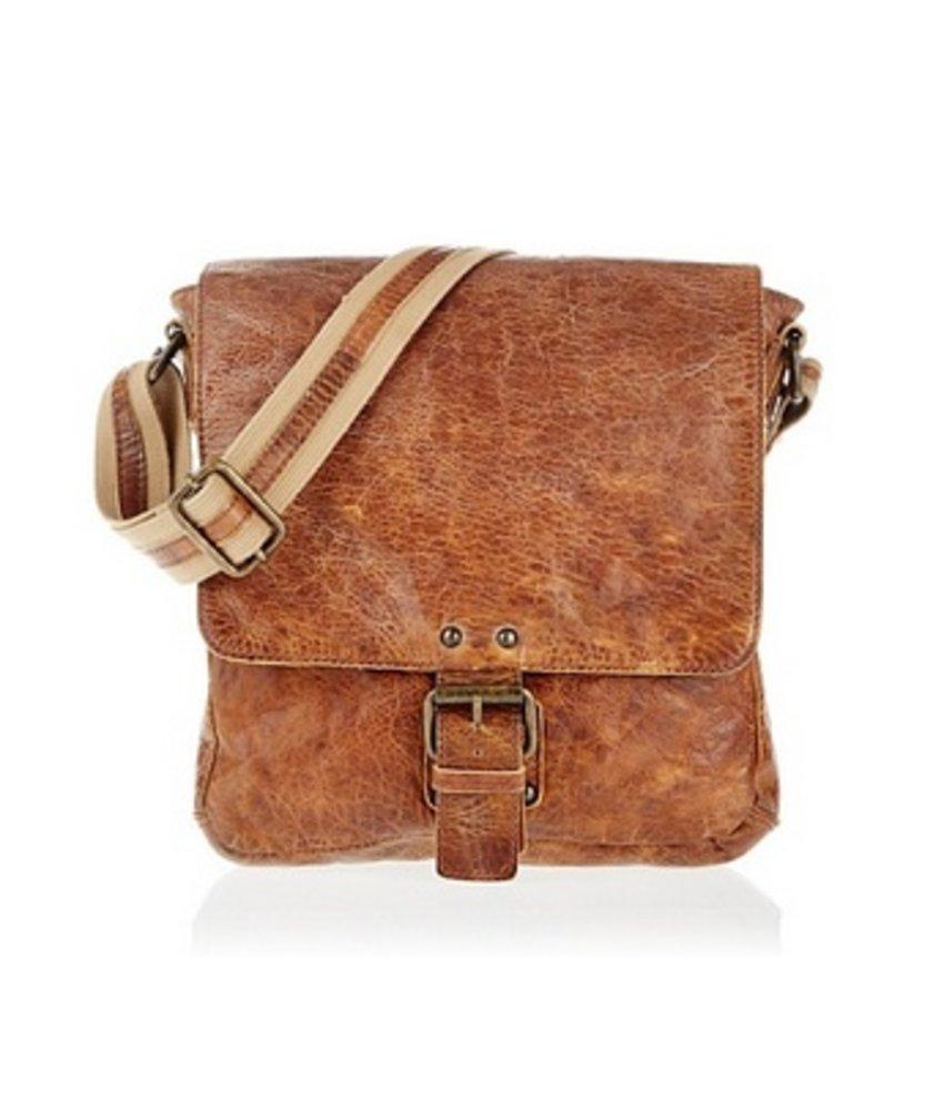 Vintage look kleine leren schoudertas bruin