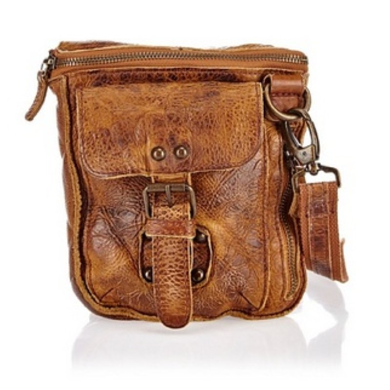 Vintage look kleine leren schoudertas bruin 2