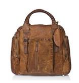 JOOF Vintage look grote leren schoudertas / schooltas bruin