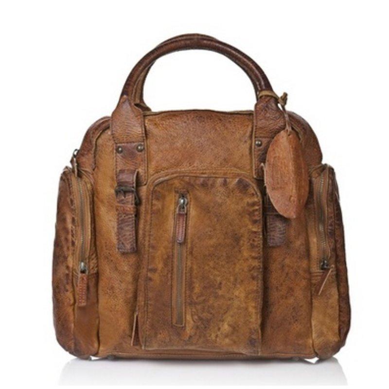 Vintage look grote leren schoudertas / schooltas bruin